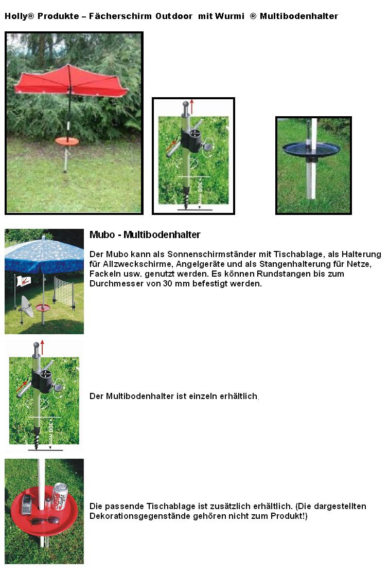 11.0005 - Holly®Produkte - Outdoor-Fächerschirm+Wurmi® Multibodenhalter